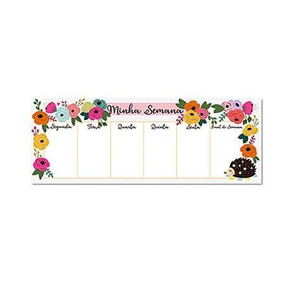 Bloco Planner Semanal Teclado Porco Espinho Floral