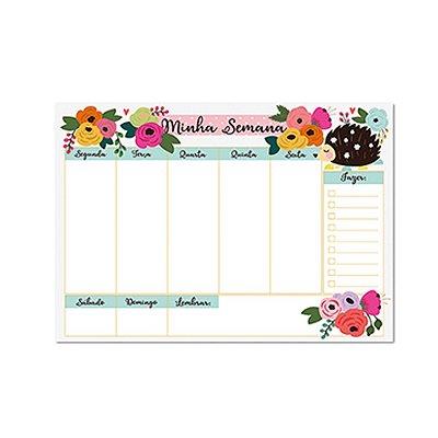 Bloco Planner de Mesa Semanal Porco Espinho Floral
