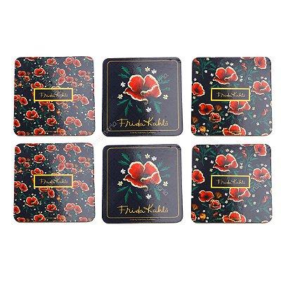 Conjunto 6 Porta Copos de Cortiça Frida Kahlo Flores Vermelhas Fundo Preto