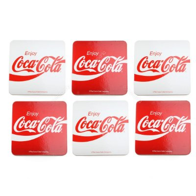 Conjunto 6 Porta Copos de Cortiça Coca-Cola Enjoy Vermelho e Branco Quadrado