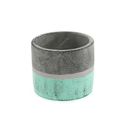 Vaso em Concreto Dual Verde e Cinza