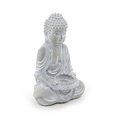 Castiçal Decorativo em Concreto Buda Sentado Cinza