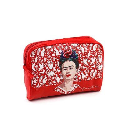 Necessaire Frida Kahlo Flores e Pássaros Vermelha