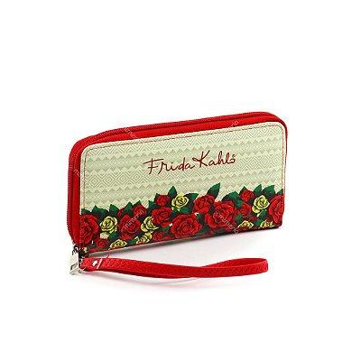 Carteira Frida Kahlo Flores Vermelhas Bege