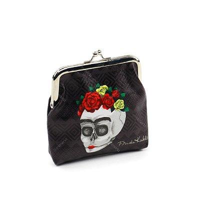Porta Moedas Frida Kahlo Flores Fundo Preto