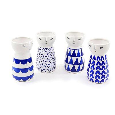Kit Vasos Decorativos Meninas em Cerâmica 4 Peças
