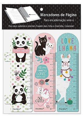 Marcador de Página Panda, Gatos e Lhama