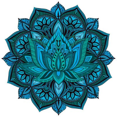 Tapete Mandala Flor de Lótus Azul e Verde