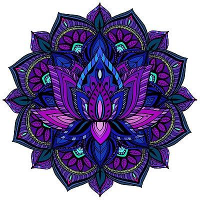 Tapete Mandala Flor de Lótus Roxo, Azul e Rosa
