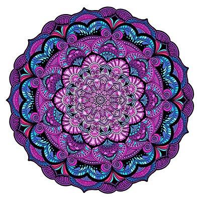 Tapete Mandala do Amor Rosa, Lilás e Azul