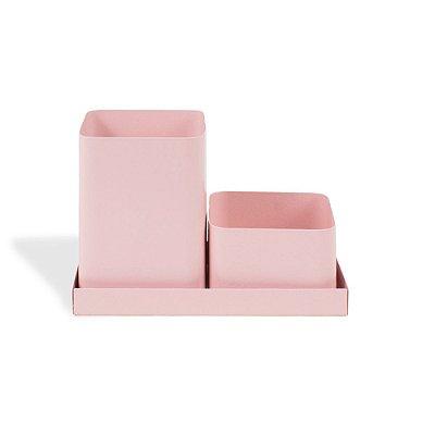 Porta-Lápis Duplo em Aço com Bandeja Rosa