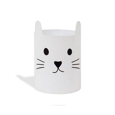 Porta-Lápis em Aço Gato Branco