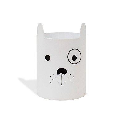 Porta-Lápis em Aço Cachorro Branco