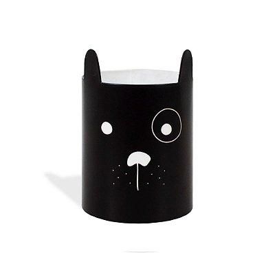 Porta-Lápis em Aço Cachorro Preto