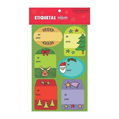 Cartela de Etiquetas Adesivas para Presentes Coloridinhas