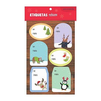 Cartela de Etiquetas Adesivas para Presentes Tons Pastéis