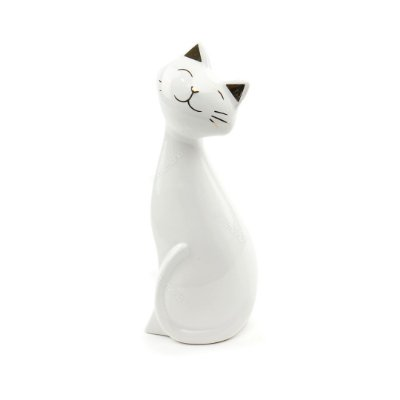 Gato em Cerâmica Branco e Dourado Grande