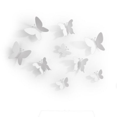 Adorno de Parede Mariposa Branco 9 Peças