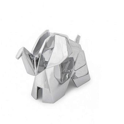 Porta Anel Origami Elefante Cromado Prata