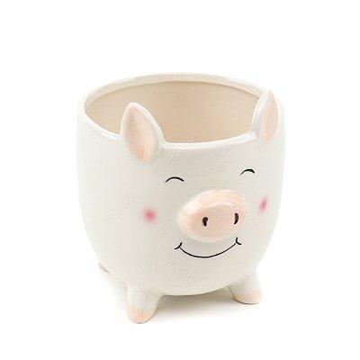 Cachepô Porco Branco