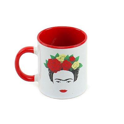 Mini Caneca de Porcelana Frida Kahlo Face e Flores Branca
