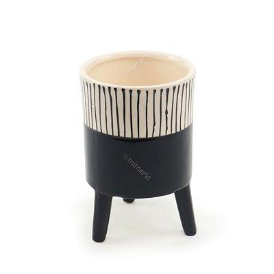 Vaso de Cerâmica com Pé Cores Brilhantes Preto Grande
