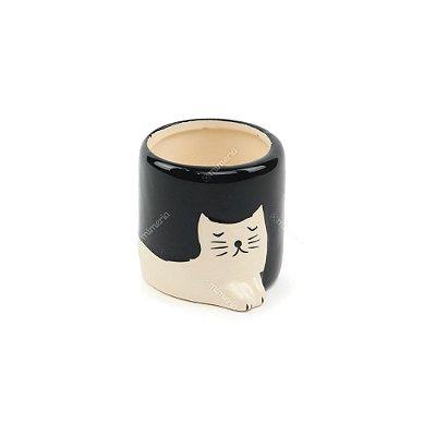 Mini Vaso de Cerâmica Gatinho Branco