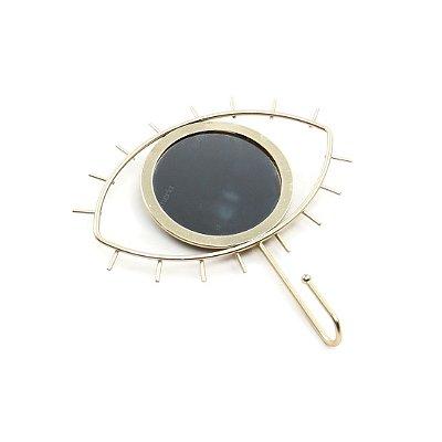 Cabideiro de Metal Espelho Olho Dourado