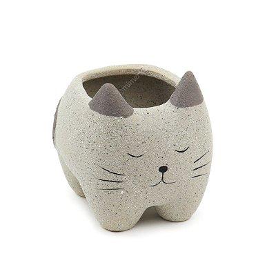 Cachepô de Cerâmica Gato Dormindo Cinza