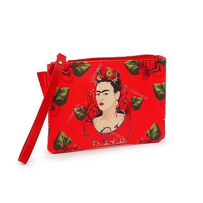 Carteira Flat Frida Kahlo Face e Rosas Vermelha