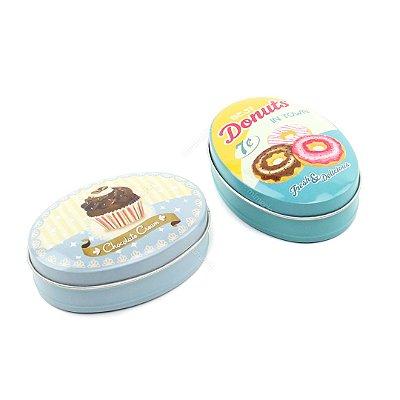 Kit 2 Latinhas Ovais Grandes Donuts e Cupcakes
