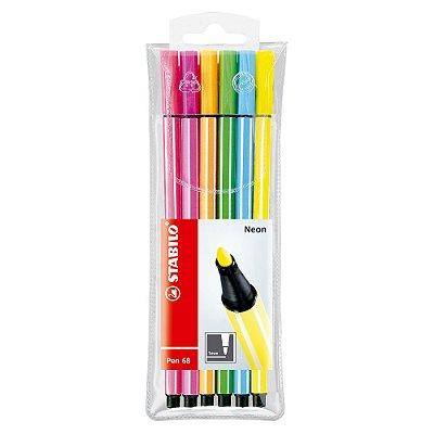 Kit Canetas Stabilo Pen 68 Neon com 6 Cores