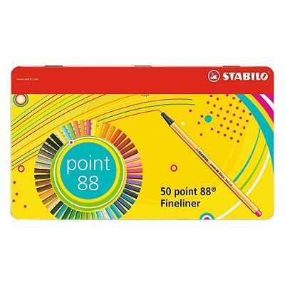 Kit Canetas Stabilo Ponta Fina Point 88 Estojo de Metal com 50 Cores