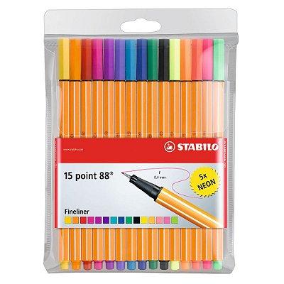 Kit Canetas Stabilo Ponta Fina Point 88 com 15 cores (10 + 5 Neon)