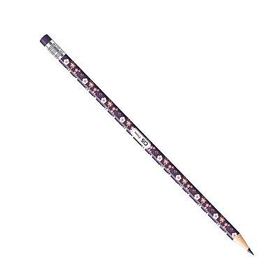 Lápis Preto CiS HB Estampado Flores Azul e Rosa