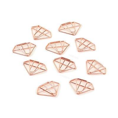Kit Clipes Metálicos Diamante Cobre