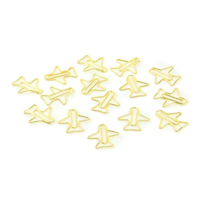 Kit Clipes Metálicos Avião Dourado