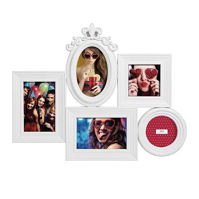 Porta Retrato Decorado Branco - 5 Fotos