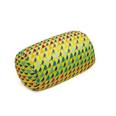Almofada Rolo Passarinhos Amarela
