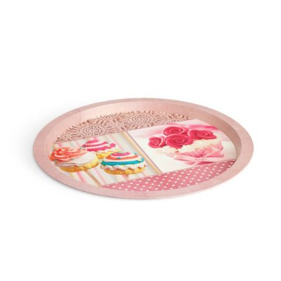 Bandeja Redonda Cupcake Rosa