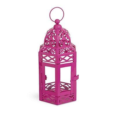 Lanterna Marroquina Rosa com Vidro