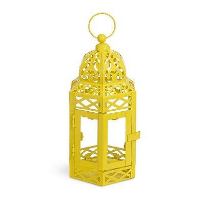 Lanterna Marroquina Amarela com Vidro