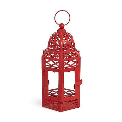 Lanterna Marroquina Vermelha com Vidro