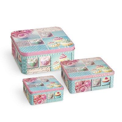 Conjunto 3 Latas Organizadoras Quadradas Cupcake Azul