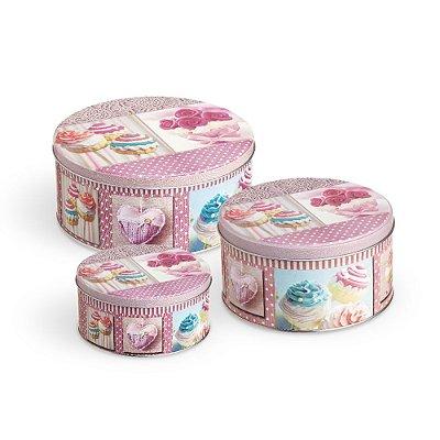 Conjunto 3 Latas Organizadoras Redondas Cupcake Rosa