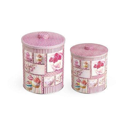 Conjunto 2 Latas Organizadoras Cupcake Rosa com puxador