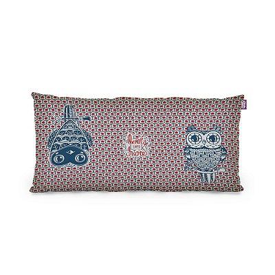 Almofada Pequena Coruja Decô Azul