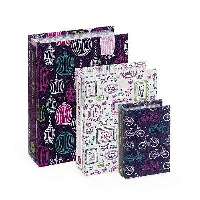 Conjunto 3 Livros Caixa Decorativos Princess Paris Roxo