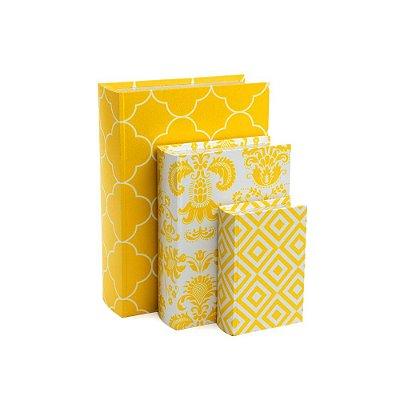 Conjunto 3 Livros Caixa Estampados Amarelo