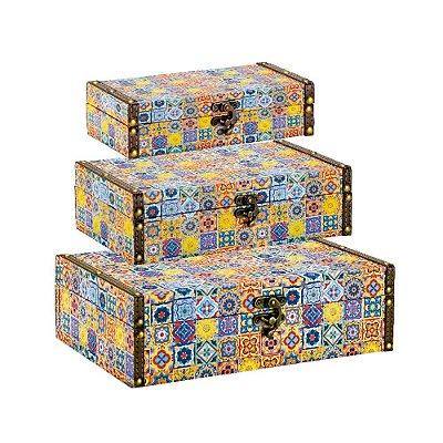 Conjunto 3 Caixas com Fecho Azulejos Coloridos